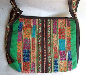 Large Multi-Color ARTISAN EMBROIDERY HANDBAG  Ethnic Tribal Fabric     (#2b)