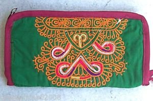 ARTISAN HAND-STITCHED EMBROIDERED Wristlet Ethnic Tribal Silk Pouch (#4b)