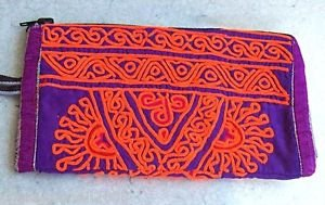 ARTISAN HAND-STITCHED EMBROIDERED Wristlet Ethnic Tribal Fabric Pouch (#4a)