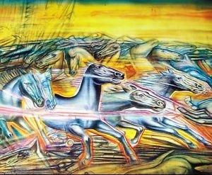 Vintage Signed ART EXHIBIT POSTER by Alejandro Romero - WILD HORSE STAMPEDE