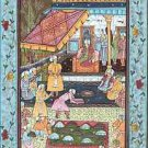MIDDLE EASTERN MINIATURE PAINTING on SILK Finely Detailed Court Scene