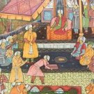 "Persia, India MUGHAL MINIATURE PAINTING on SILK Court Scene ""GIFTS FOR SHAH"""