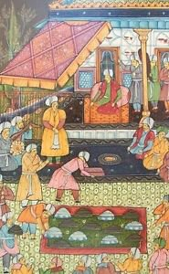 """Persia, India MUGHAL MINIATURE PAINTING on SILK Court Scene """"GIFTS FOR SHAH"""""""