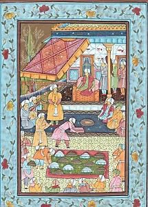 """Mughal Persian Miniature GOUACHE PAINTING on SILK Court Scene """"GIFTS FOR SHAH"""""""