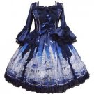 Angelic Pretty Castle Mirage Princess Sleeve Dress in Navy Lolita Fashion