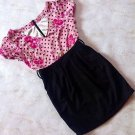 MA*RS Sugargloss Pink Black Roses Dots Onepiece Dress Size S