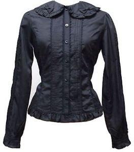 Metamorphose Crown Label Twin Ribbon Cotton Blouse in Black Lolita Fashion