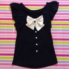 Rojita Dark Blue Top With Large Bow Size S Very Cute