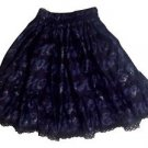 Metamorphose Romantic Alphabet Glittering Lace Skirt in Navy Lolita Fashion