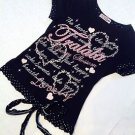 Super Cute Tralala Black Top Size S Decorated with Glitter Text
