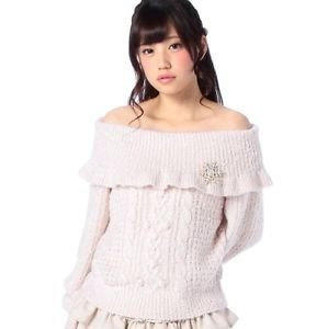 Authentic Liz Lisa Pink Winter Sweater Snowflake Brooch Japanese Gyaru Fashion