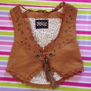 Liz Lisa Tralala Brown Western Cowboy Style Waistcoat Size S