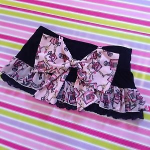 MA*RS Sugargloss Perfume Chain Print Black and Pink Mini Skirt with Bow