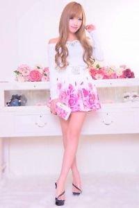 MA*RS Rose Print Pink Flared Skirt Gyaru Fashion