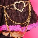 MA*RS Agejo Gyaru Skirt Chain Belt With Rhinestone Crystal Hearts