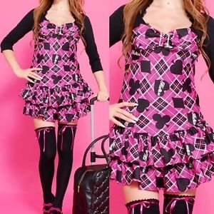 MA*RS Fall 2010 Very Rare Agejo Onepiece Dress Card Pattern with Bow Rhinestone