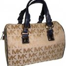 Michael Kors Signature Print Grayson Medium Satchel Shoulder Bag Beige Navy Blue