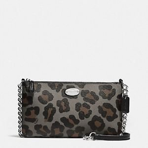 Coach Quinn Ocelot Small Leather Crossbody Cheetah Leopard Grey Brown Black