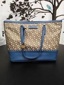 DKNY Signature Logo Tote Shoulder Bag Chino Blue Khaki Heritage w/ Leather PVC