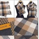 Coach Square Plaid Fringy Scarf Medium Charcoal Brown Wool Rayon Cashmere Blend