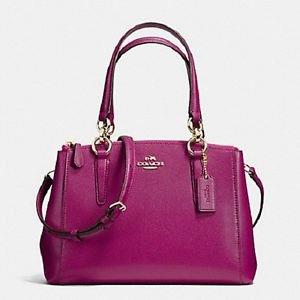 Coach Leather Mini Christie Satchel Shoulder Bag Crossbody Fuschia Pink Gold