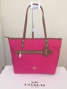 Coach Medium Sawyer Tote Shoulder Bag Canvas & Leather Pink Ruby Brown