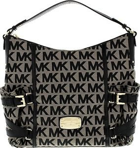 Michael Kors Gansevoort Large Signature Print Shoulder Bag Tote Black Jacquard