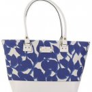 Kate Spade Wellesley Fabric Leather Harmony Tote Shoulder Bag Blue White Leaves