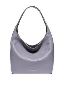 Michael Kors Leather Lena Large Shoulder Bag Hobo Tote Lilac Light Pale Purple
