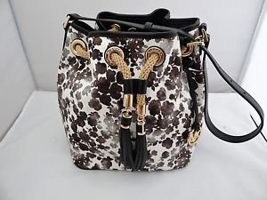 Michael Kors Floral Print Drawstring Tote Shoulder Bucket Bag Canvas Black White