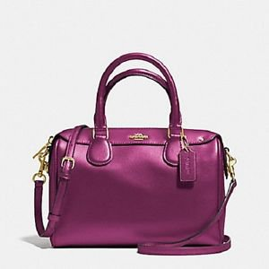 Coach Pebbled Leather Mini Bennett Satchel Shoulder Bag Crossbody Fuschia Pink