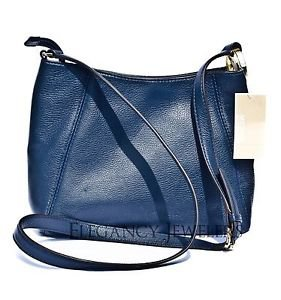 Michael Kors Leather Fulton Medium Messenger Crossbody Shoulder Bag Navy Blue