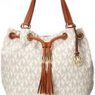 Michael Kors Signature Jet Set Large Gathered Tote Bucket Shoulder Bag Vanilla
