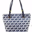 Michael Kors Jet Set Signature Print Jacquard Tote Shoulder Bag Denim Navy Blue