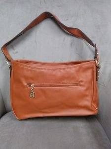 Esbag Faux Pebbled Leather Medium Shoulder Bag Rust Brown Gold NWT