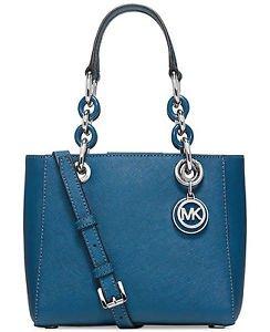 Michael Kors Leather Mini Small Cynthia Shoulder Bag Tote Crossbody Steel Blue