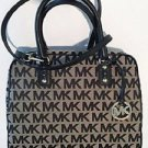 Michael Kors Signature Print Large Jacquard Satchel Shoulder Bag Beige Black