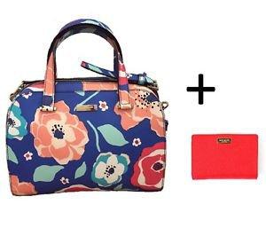 Kate Spade Leather Satchel Shoulder Bag Crossbody w/ Wallet Blue Pink Floral