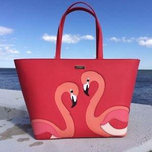 Kate Spade Leather Jules Walk on The Wild Side Tote Shoulder Bag Pink Flamingos