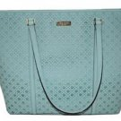 Kate Spade Newbury Lane Dally XL Leather Tote Shoulder Bag Perforated Grace Blue