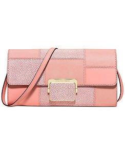 Michael Kors Leather Cynthia Crossbody Shoulder Bag Clutch Pale Pink Gold