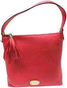 Michael Kors Leather Bedford Med Top Zip Shoulder Bag Crossbody Watermelon Pink