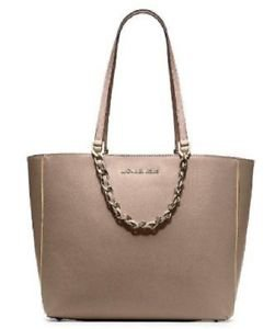 Michael Kors Pebbled Leather Harper E/W Large Tote Shoulder Bag Dark Khaki Brown