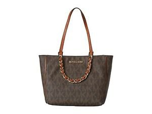 Michael Kors Harper E/W Large Tote Shoulder Bag Brown Tan Gold PVC Leather NWT