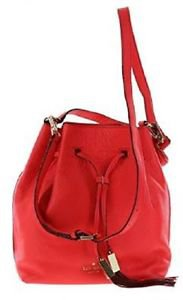 Kate Spade Grey Street Delaina Large Leather Bucket Shoulder Bag Geranium Salmon