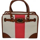 Michael Kors Hamilton Large Mono Stripe Tote Shoulder Brief Bag Pink Brown Cream