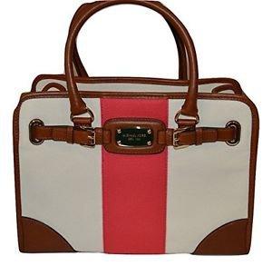 Michael Kors Hamilton Large Mono Stripe Tote Shoulder Brief Bag Pink Brown Cream