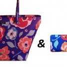Kate Spade Leather Jules Tote Shoulder Bag w/ Matching Wallet Blue Pink Floral