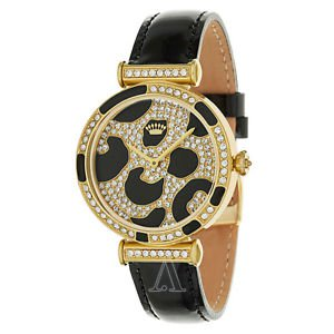 Juicy Couture Womens J Couture Watch SS Gold Crystals Cheetah Leopard Leather 34