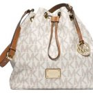 Michael Kors Signature Jules Large Convertible Bucket Shoulder Bag Vanilla PVC
